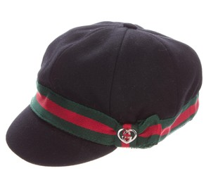 Gucci Black GG monogram canvas Gucci wool military cappello