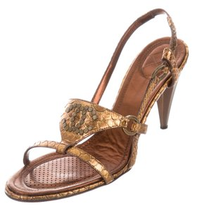 Chanel Gold Hardware Strappy Interlocking Cc Snakeskin Beaded Gold, Black Sandals