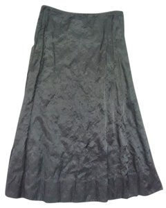 Eileen Fisher Stunning Dramatic Steel Satin Sexy Maxi Skirt Black