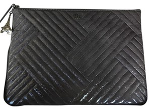 Chanel Chanel Chevron O Case Gray Cosmetic Bag