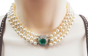 Other Antique 4 carat emerald & 3 strand pearl choker necklace in 14k