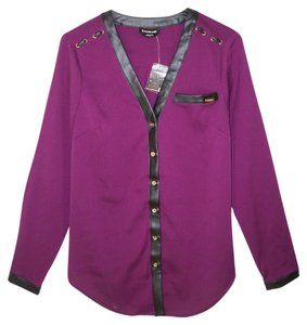 bebe Faux Leather Logo Top Purple