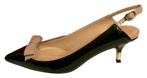 Valentino Slingback Kitten Bow Patent Leather Black Sandals