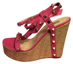 Valentino Rockstud Studded Platform Wedge Cork Pink Sandals