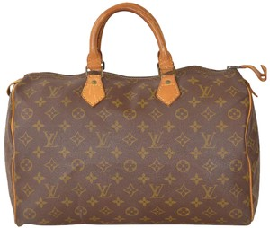 Louis Vuitton Monogram Speedy Boston Speedy 35 Satchel in Brown