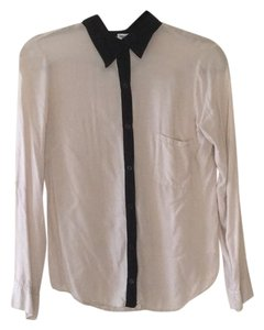 Splendid Button Down Shirt taupe and black