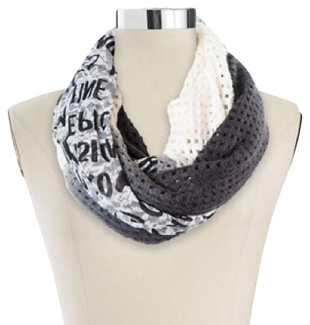 Item - Gray Luxe Lace Knit and Print Loop Scarf/Wrap