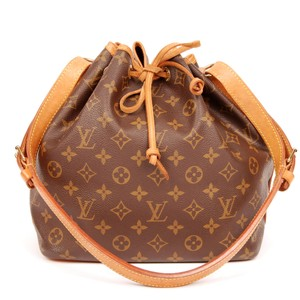 Louis Vuitton Monogram Canvas Leather Vintage Petit Noe Tote in Brown