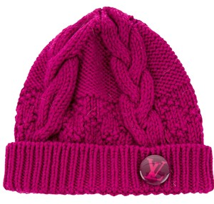 Louis Vuitton Pink Louis Vuitton LV logo embellished Constance beanie