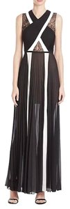 BCBGMAXAZRIA Lace Sleeveless Chiffon Pleated Dress