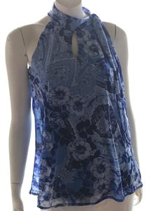INC International Concepts Sleeveless Silky Fancy Dress Floral Top White