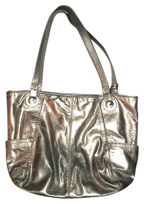Item - Hathaway 'long Live Vintage' Metallic Silver Leather Tote
