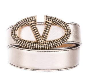Valentino Metallic gold-tone leather Valentino crystal embellished V belt M