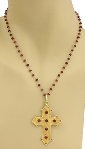 Modern Vintage Ruby Cross Pendant Bead Chain Necklace in Solid 22k Gold