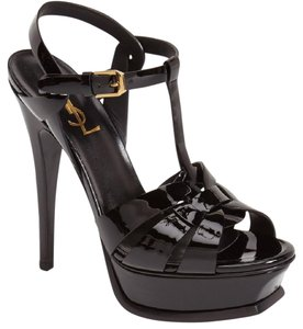 Saint Laurent Ysl Leather Black Sandals