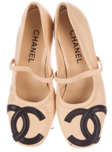 Chanel Interlocking Cc Logo Gold Hardware Quilted Square Toe Beige, Black Pumps