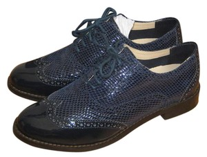 Cole Haan Patent Leather Wingtip Oxford Leather Snakeskin Blue Flats