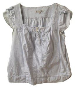 American Eagle Outfitters Top Light Blue and White Stripes
