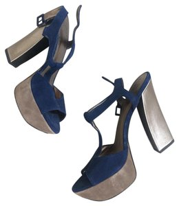 Pelle Moda Suede Platforms Metallic Blue Pumps
