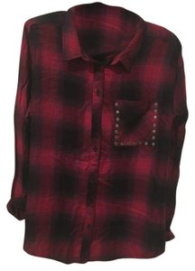 Arizona Jean Company Button Down Shirt Black and Red