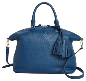Tory Burch Leather Medium Slouchy Satchel in Blue