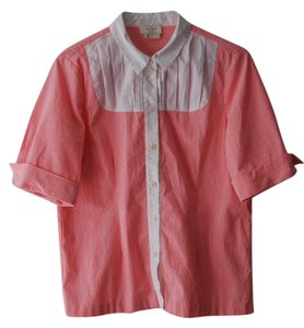 Kate Spade Easter Button Down Shirt Neon Pink and White
