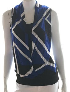 INC International Concepts Sleeveless Dress Top blue white