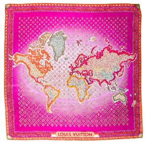 Louis Vuitton Pink, purple silk Louis Vuitton LV monogram map oversized scarf