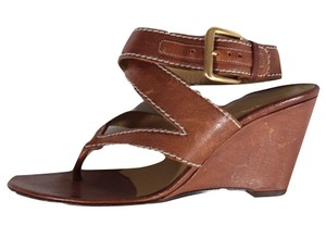 Valentino Leather Ankle Wrap Sandals Cognac Wedges