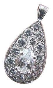 Other $9,200 Lady's Pear Shape Diamond Pendant White Gold 14K