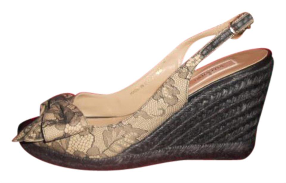 69bc7386866 Valentino Black/Nude Lace Bow Espadrille Rope Wedge Heel Slingback Sandals  Size EU 38 (Approx. US 8) Regular (M, B) 37% off retail