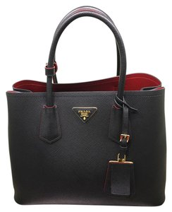 Prada Double Cuir Saffiano Tote in Black