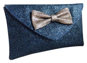 Miss Albright Anthropologie Pruse Bow Blue and Golden Clutch