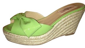 Valentino Platform Wedge Espadrille Bow Mule Green Sandals