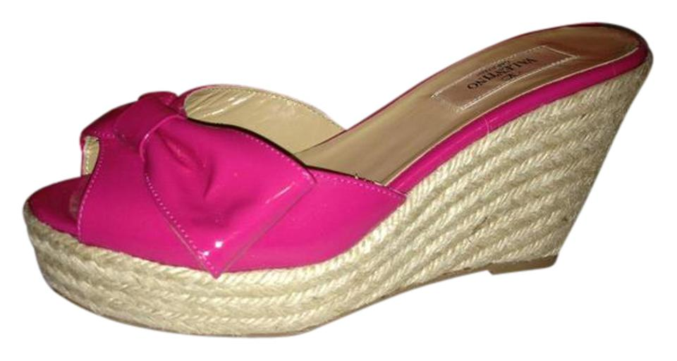 Valentino Fuchsia Pink Patent Wedge Leather Mena Bow Espadrille Wedge Patent Heel Mule Slides Sandals b1cb27