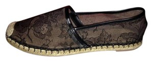 Valentino Espadrille Rope Beaded Lace Black Flats