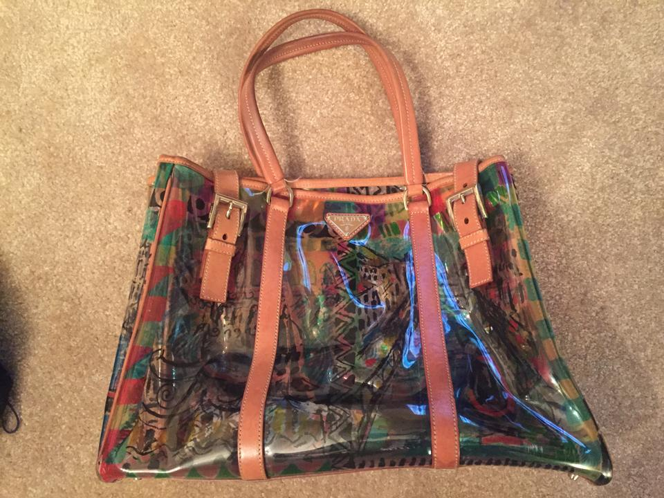 c84707af729a Prada And Venice Canals Print Clear Vinyl/Leather/Nylon Tote - Tradesy