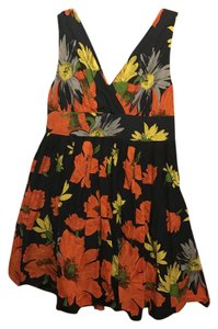 Aryeh short dress Navy, Orange Floral Cotton A-line V-neck Summer on Tradesy