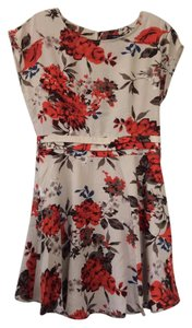 Forever 21 short dress Beige with bright floral design on Tradesy