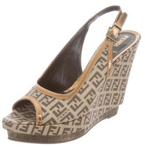 Fendi Ankle Strap Zucca Hardware Logo Peep Toe Beige, Brown, Gold Sandals