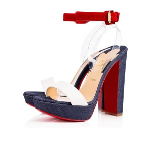 Christian Louboutin Cherrysandal Ankle Strap Denim Sandals