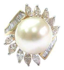 Other 18Kt South Sea Pearl Diamond Yellow Gold Jewelry Ring 12.1mm 1.34Ct
