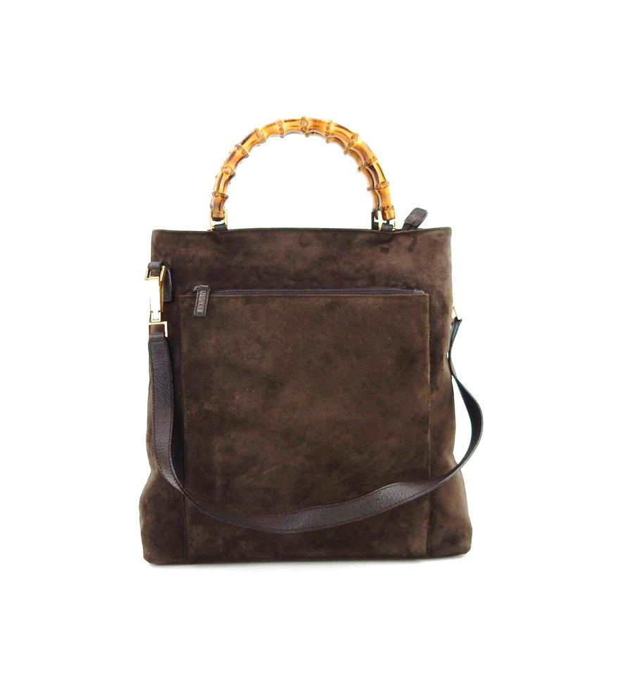 3563d734acd Gucci Bamboo 2-way Tote Italy Brown Suede Leather Shoulder Bag - Tradesy