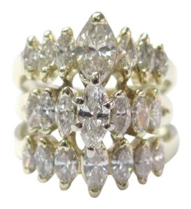 Other Fine Marquise Diamond Cluster 3-Row Yellow Gold Jewelry Ring 2.16CT