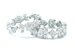 Other 18Kt Round Diamond Flower Milgrain Eternity Band Rings WG 2.00CT Sz 6.
