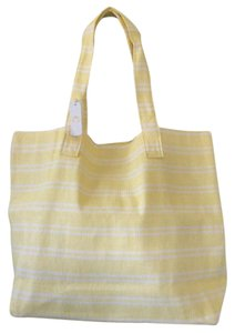 Charming Charlie Yellow and white striped Beach Bag