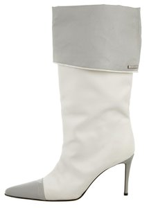 Chanel Pointed Toe Logo Silver Hardware Interlocking Cc Ankle White, Grey Boots
