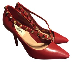 Valentino Rockstud D'orsay Leather Red Pumps