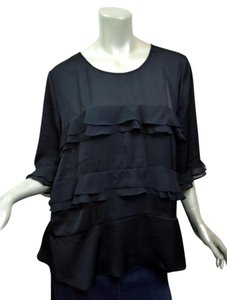 Who What Wear x Target 2xl Xxl Ruffle Evening Silky Top Black