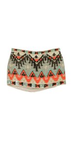 AllSaints Multi Color Sequined Aztec Print Mini Skirt